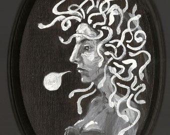 Medusa - original painting - oval - Greek mythology - small portrait - gorgon queen