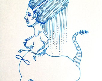 nude - beast lady - original drawing - sphinx - freak