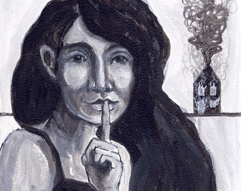 original portrait painting - black and white - secrets - woman - small acrylic -