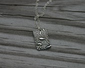 Silver Rectangular Vine Necklace