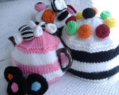 PDF Knitting pattern striped tea cosy with sweets. UK seller