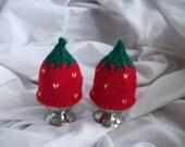 Strawberry hand knitted egg cosies. Pair. UK seller.