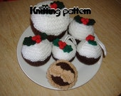 Mince pies and Christmas puddings knitting pattern. UK seller