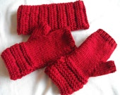 Red Fingerless mittens and matching earwarmers. Hand knitted.