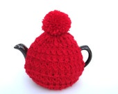 Red pompom tea cosy to fit a small 2 cup tea pot