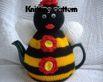 Bee tea cosy (cozy) knitting pattern . UK seller.