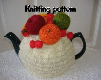 Knitting pattern mini fruits tea cosy to fit a medium pot. UK seller.