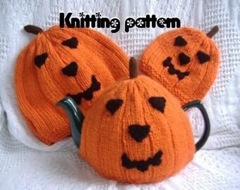 Pumpkin tea cosies knitting pattern 3 sizes. UK seller