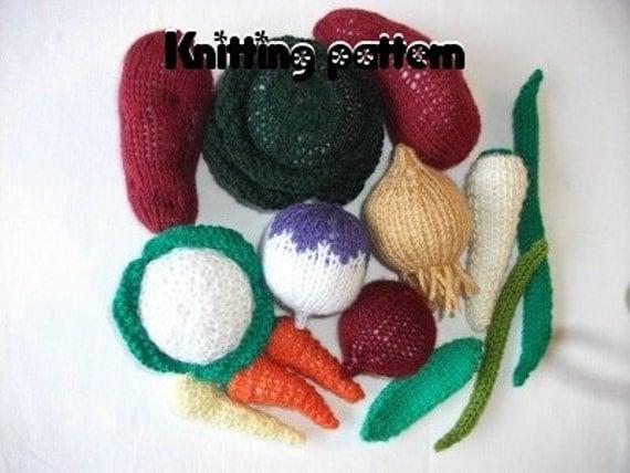 Knitting pattern vegetable assortment. UK seller.