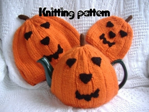 Pumpkin tea cosies knitting pattern 3 sizes. UK seller