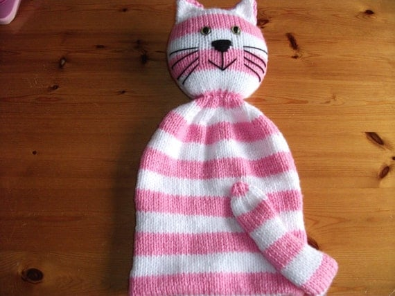 Cat kitty nightdress case hand knitted pink and white stripes. Reserved for Seth.