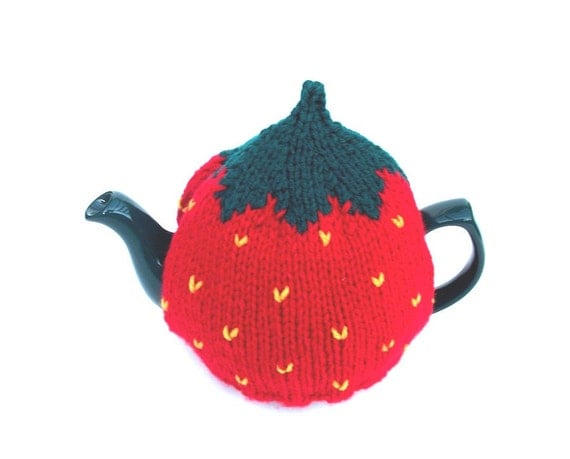 Strawberry tea cosy handknitted  to fit a small pot UK seller