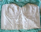 Vintage ivory satin and sequin bustier bra