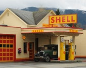 Look of the past photo of a retro Shell Station, man cave decor, home decor