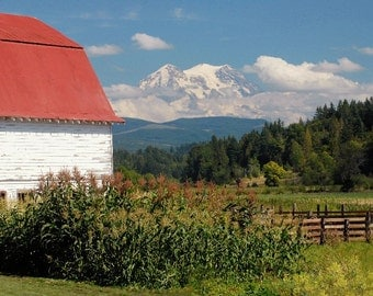 Red Roof Barn Photo, Mt. Rainier from a farm, Seattle Photo, home decor, wall decor, country decor, Seattle Picture