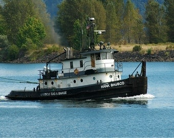 Tugboat Photo, Seattle Photo, Tug on the Columbia River, home decor, wall decor, nauticl decor, Seattle Picture