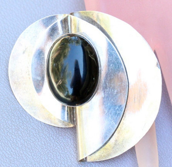 Vintage Art Deco Mexican Sterling Silver Black Onyx Large Brooch Pin