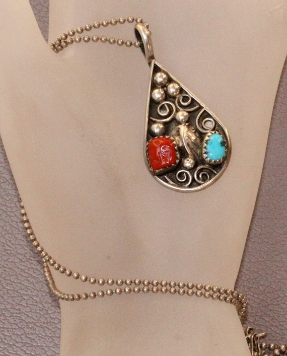 Vintage Navajo American Indian Sterling Coral & Turquoise Necklace