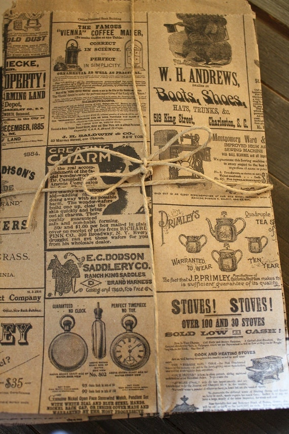 100 Newsprint Bags, kraft bags, 6x9, party favors, wedding favor bags, special occasion, newsprint--Ticket No. 182