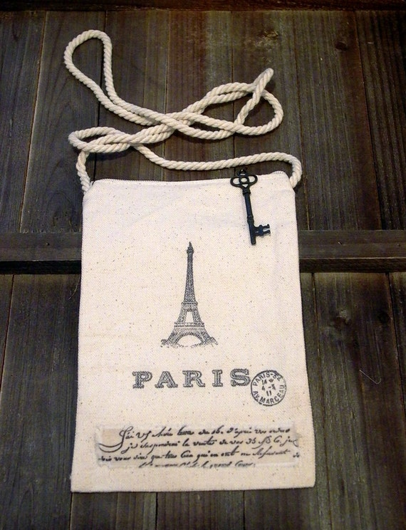 Small Tote, Bag, Pouch, French Inspired, Eiffel Tower, Paris, Hand Stamped, Key, Muslin Trim - Ticket No. 137