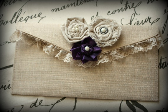 Natural Canvas Clutch- bridal, wedding, bridesmaid, bridal party, lace, purple flower, muslin rosettes - Ticket No. 175