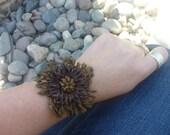 Leather Bracelet.Handflower leather bracelet.Brown.Women.Teen.