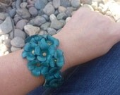 Leather Bracelet.Handflower leather bracelet.Blue.Women.Teens.