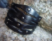 Leather Bracelet/Wristband.Black.Cuff.Bangle.Unisex. Women.Men.