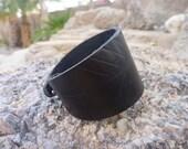 Leather Bracelet.Black Leather Cuff Bracelet.Unisex