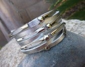 Leather  Cuff Bracelet.Silver.Unisex.Womens or Mens.Sterling Silver.Adjustable .