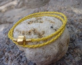 Yellow Leather Double Weave Charm Bracelet/Necklace.Bangle.Unisex.Women.Men.