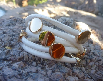 Leather Bracelet.Wrap bracelet.White Leather Wristband/ Cuff /Belt /Bracelet .W/Golden Studs Buttons.Women/Men
