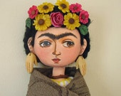 Frida Kalho with hand earrings Art Doll