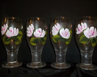 Hand Painted Shimmering Pilsner Glass with White and Pink Roses