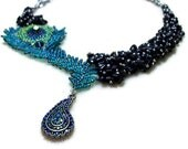 Beaded Peacock Necklace, Asymmetrical in Blue, Purple, and Green