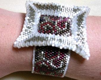 Swirly Buckle Cuff Bracelet - Red, Khaki, and Cream Beadwork