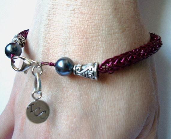 Metal Work Bracelet, Viking Knit in Fuscia & Dark Grey - Personalizable