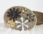 Fabulous Flower Beaded Belt Buckle with Distressed Leather Strap