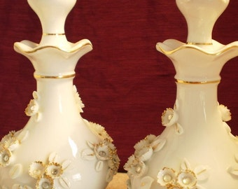 Vintage Lefton Handpainted China Perfume Bottle Decantures With Gold And Rhinestones 2 Piece Set