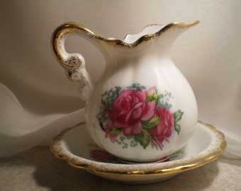 Small Vintage Pitcher and Saucer Pink Roses 2 Piece Set