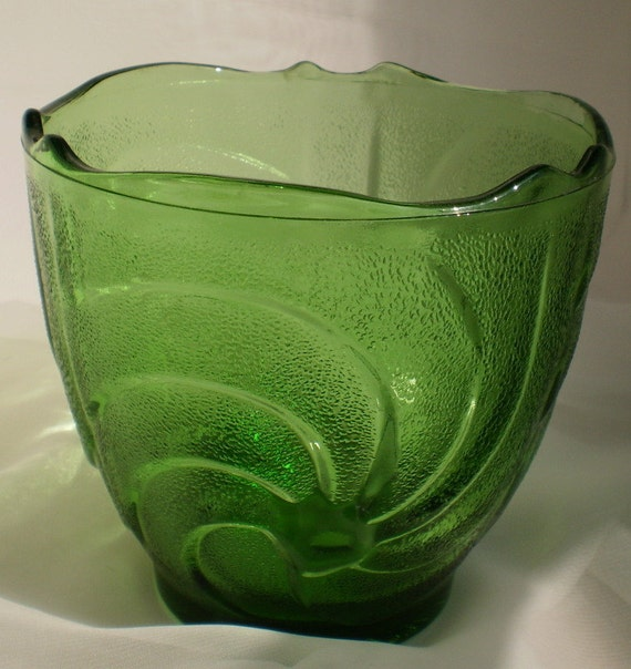 Vintage E O Brody Green Glass Vase Dish Votive With A
