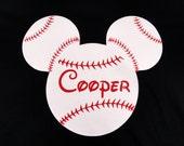 Custom Baseball Mickey mouse boys shirt