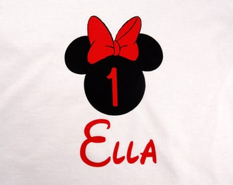 Personalized Custom Mouse Ears with Bow Women Birthday shirt