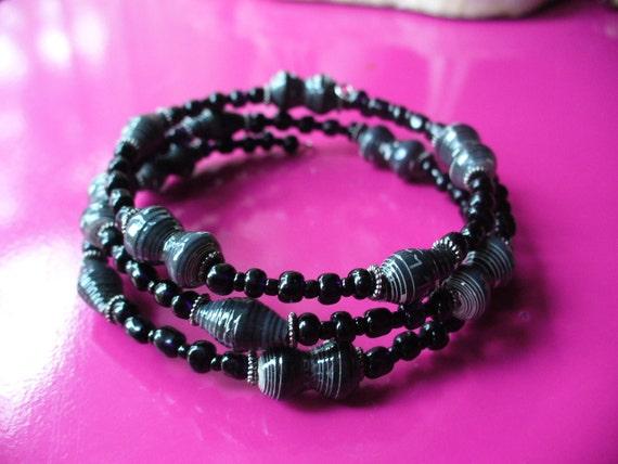 Black Paper Bead memory wire bracelet :)