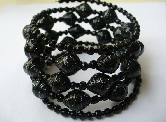 Glitter black Paper bead Memory wire bracelet :)
