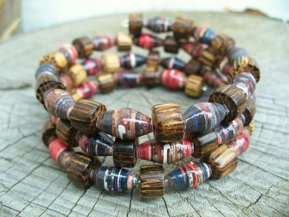 Recycled Paper and wooden beads memory wire bracelet - from recycled magazines - wrap around bracelet - one size fits all