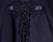 Cape,  Victorian, black, beaded, Mourning Cape.