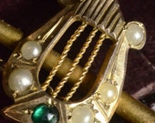 Brooch,  9ct gold, Victorian, Steampunk Harp and sword -damaged