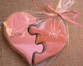 Heart Puzzle Sugar Cookie Set - Gift - 6 XL cookies - Any colors -