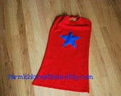 Red Kids Super Hero Cape with Blue Star